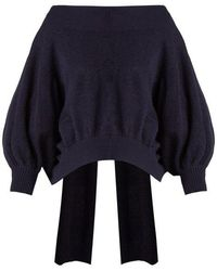 Palmer//Harding - Palmer//harding - Open Back Flocked Cotton Jumper - Womens - Navy - Lyst