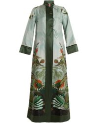 F.R.S For Restless Sleepers | Euribia Bird-print Lace-up Silk-twill Robe | Lyst