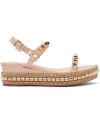 541ec3c0a293 Cataclou Studded Platform Espadrille Sandals.  795. Barneys New York · Christian  Louboutin - Pyraclou 60 Metallic Leather Flatform Sandals - Lyst