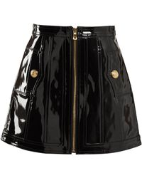 Balmain - High Rise Patent Leather Skirt - Lyst