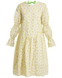Shrimps | Peggy Floral-embroidered Cotton-blend Dress | Lyst
