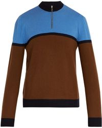 Prada - Half Zip Stripe Panel Wool Sweater - Lyst