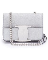Ferragamo - Vara Mini Glitter-covered Leather Cross-body Bag - Lyst