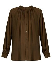 Vince - Oversized Gathered Silk Blouse - Lyst
