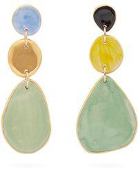 Sonia Boyajian - Technicolour Painted Ceramic And Gold Earrings - Lyst