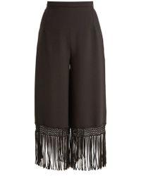 Andrew Gn - Fringed Hem Wide Leg Crepe Trousers - Lyst