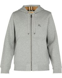 Burberry - Logo-embroidered Cotton-blend Hooded Sweatshirt - Lyst