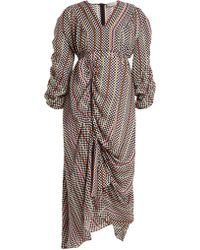 Preen By Thornton Bregazzi - Monica Hammered Silk Checked Dress - Lyst