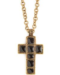 Gucci - Cross Pendant Bead Necklace - Lyst