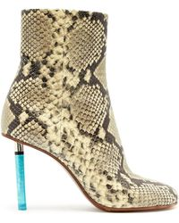 Vetements - Python Effect Lighter Heel Leather Ankle Boots - Lyst