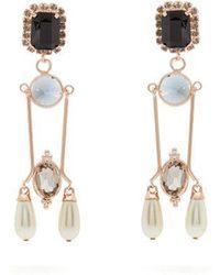 Erdem - Crystal And Faux Pearl-embellished Drop Earrings - Lyst