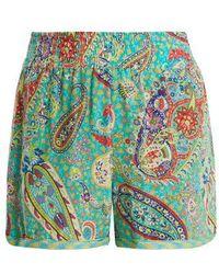 Etro - Paisley-print Silk-crepe Shorts - Lyst