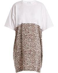 Raey - Cotton And Leopard-print Silk T-shirt Dress - Lyst