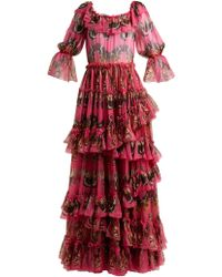 Dolce & Gabbana - Butterfly-print Ruffled Silk-chiffon Gown - Lyst