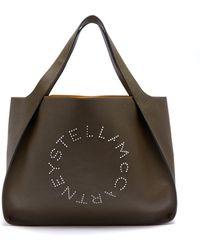 Stella McCartney - - Stella Studded Logo Faux Leather Tote Bag - Womens - Khaki - Lyst