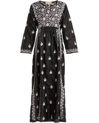 Muzungu Sisters - Floral Embroidered Silk Dress - Lyst