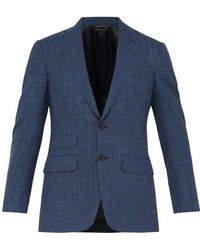 Thom Sweeney - Single Breasted Checked Wool Blend Suit Jacket - Lyst