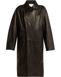 Toga - Scarf Insert Leather Coat - Lyst