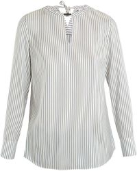 Brunello Cucinelli - Neck-embellished Striped Silk Blouse - Lyst