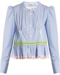 Natasha Zinko | Gingham Lace-trimmed Cotton Blouse | Lyst