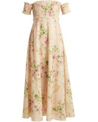 Zimmermann - Iris Shirred Linen And Cotton Blend Dress - Lyst