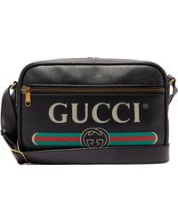 Gucci - Logo Print Leather Messenger Bag - Lyst