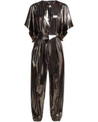 Norma Kamali - Kimono Sleeve Metallic Lamé Jumpsuit - Lyst