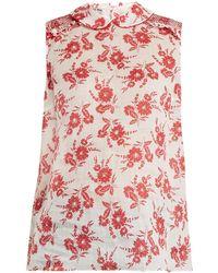 Miu Miu | Sleeveless Floral-print Gauze Top | Lyst