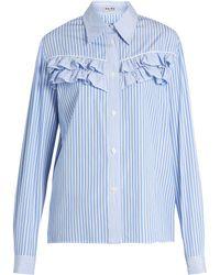 Miu Miu | Striped Ruffle-trimmed Cotton-poplin Shirt | Lyst