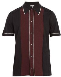 Lanvin - Contrast-panel Button-down Wool Polo Shirt - Lyst