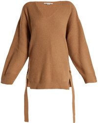 Stella McCartney | Curved V-neck Ribbed-knit Cashmere-blend Sweater | Lyst