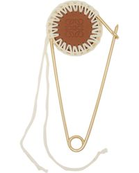 Loewe - Meccano Gold-plated Brass And Leather Pin - Lyst