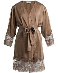 Icons - Art Lily Silk Robe - Lyst