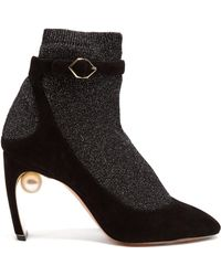 Nicholas Kirkwood - Lola Faux Pearl Glitter Sock Suede Heeled Court Shoes - Lyst