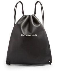 Balenciaga - Logo-print Leather Drawstring Backpack - Lyst
