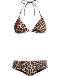 Ganni - Leopard Print Bikini - Lyst