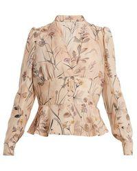 Bottega Veneta - Floral-print Peplum-hem Silk Blouse - Lyst