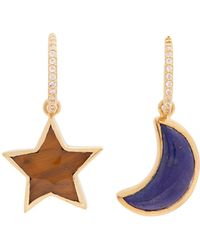 Theodora Warre - Lapis-lazuli And Tiger-eye Gold-plated Earrings - Lyst