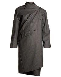 Balenciaga - Prince Of Wales-checked Asymmetric Coat - Lyst