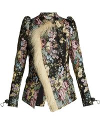 Preen By Thornton Bregazzi - Yulia Shearling Trimmed Floral Jacquard Jacket - Lyst