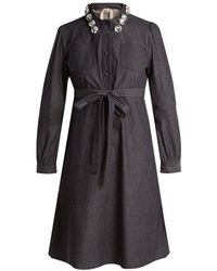 N°21 - Crystal-embellished Cotton-chambray Shirtdress - Lyst
