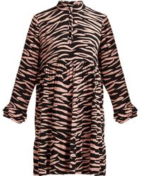 Ganni - Lindale Zebra Print Tiered Satin Dress - Lyst