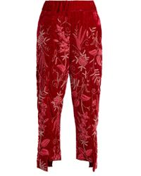 By Walid - Meera Floral-embroidered Silk-velvet Trousers - Lyst