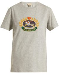 Burberry - Archive Crest-embroidered Cotton T-shirt - Lyst