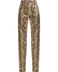 MSGM - High-waisted Snake-print Trousers - Lyst