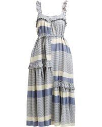 Apiece Apart Lypie Stripe Ruffle Sleeve Maxi Dress