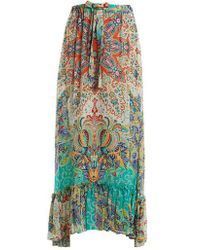 Etro - Abstract Floral-print Ruffle-trim Skirt - Lyst