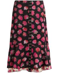 Proenza Schouler | Carnation-print Fluted Midi Skirt | Lyst