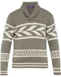 Ralph Lauren Purple Label - Knit Cashmere Shawl Collar Sweater - Lyst