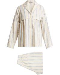 Three Graces London - Moore Cotton And Linen Blend Pyjama Set - Lyst